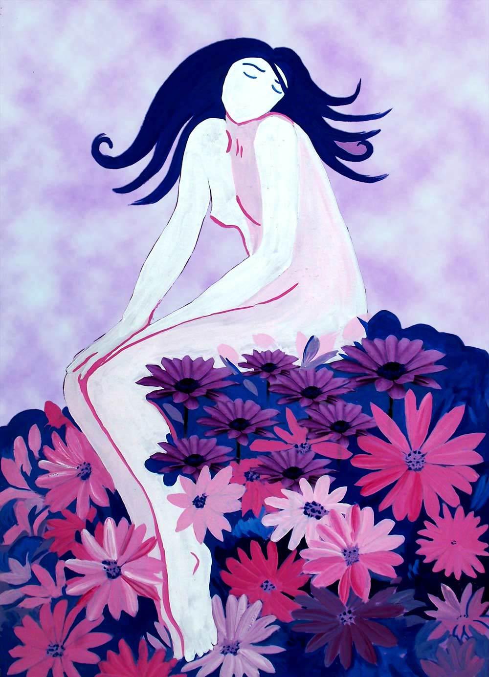 Ilustración gratis - Chica sentada sobre unas flores margaritas