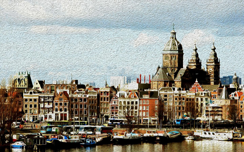 Ilustración gratis - Amsterdam - pintura digital