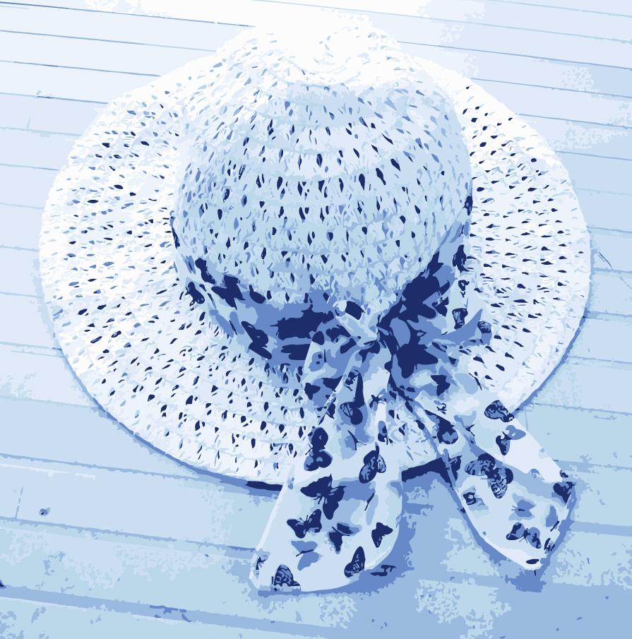 Ilustración gratis - Sombrero de playa con pañuelo