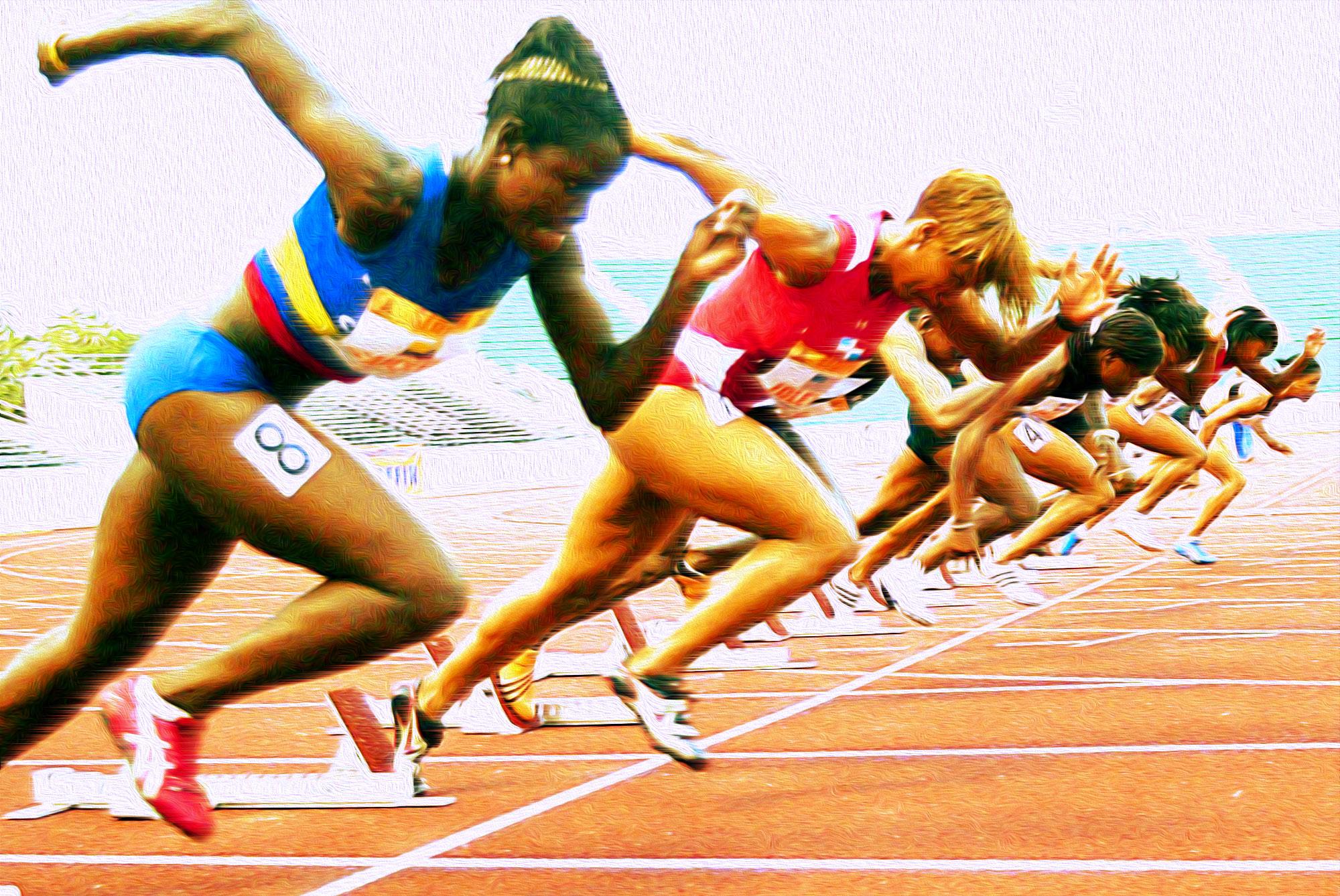 Ilustración gratis - Carreras de velocidad - mujeres atletas
