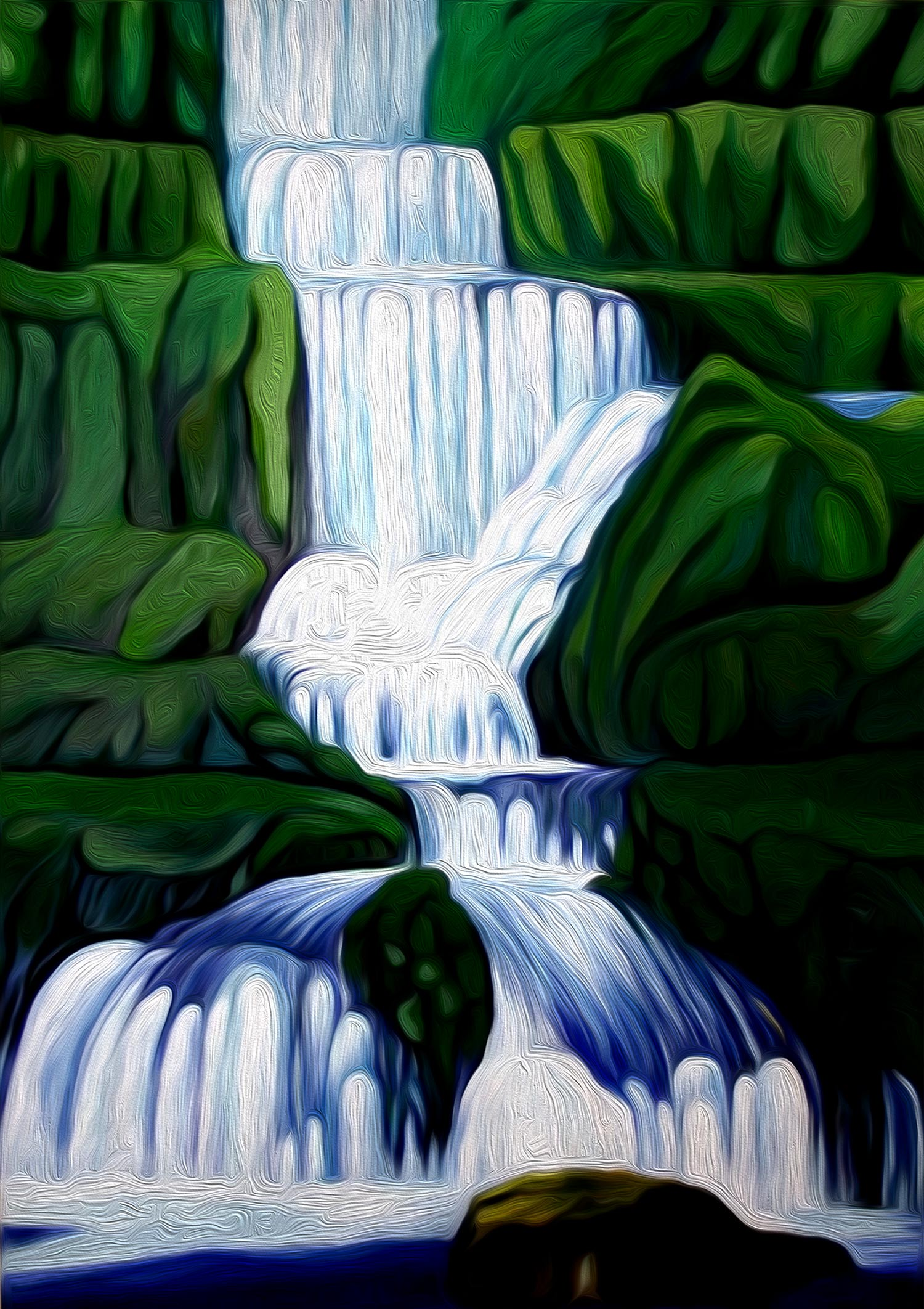 Ilustración gratis - Cascada de un río