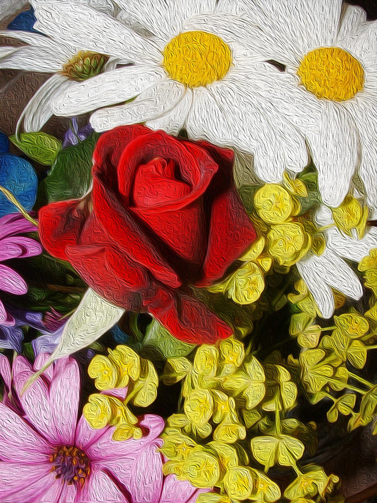 Ilustración gratis - Ilustración con varias flores de alegres colores