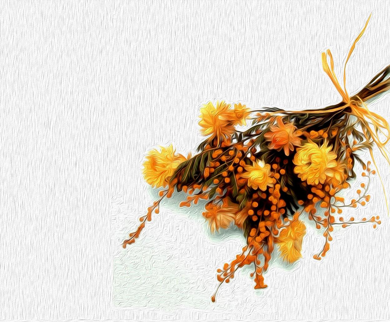 Ramo de flores secas amarillas